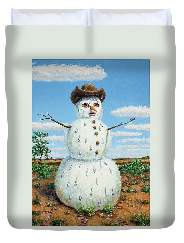 Snowman Duvet Cover featuring the painting A Snowman In Texas by James W Johnson