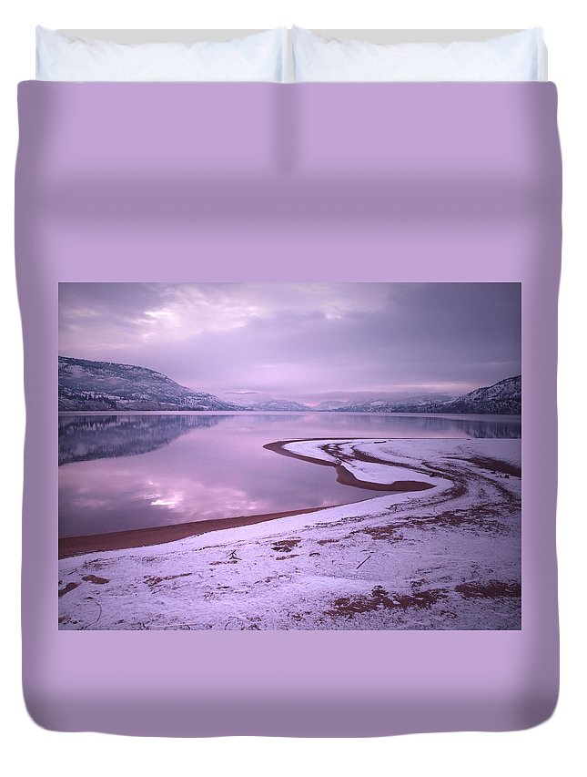 Winter Duvet Cover featuring the photograph A Snowy Shore by Tara Turner