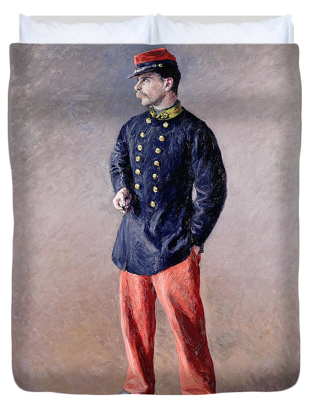 Un Soldat; Portrait; Male; Standing; Uniform; Smoking; Cigarette; Profile; Moustache; Cap; Third Republic; Brass Buttons; Army Duvet Cover featuring the painting A Soldier by Gustave Caillebotte