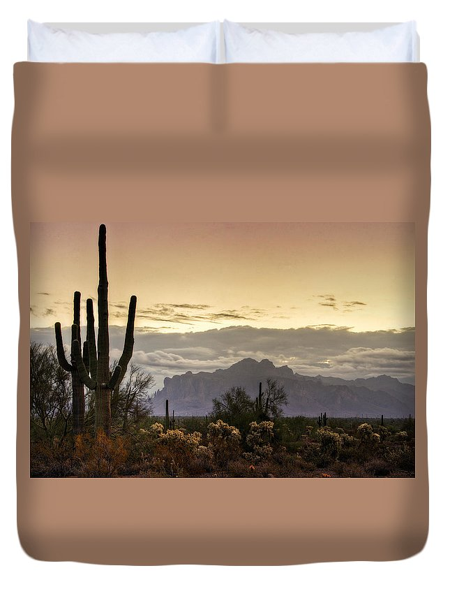 Sunrise Duvet Cover featuring the photograph A Sonoran Morning by Saija Lehtonen