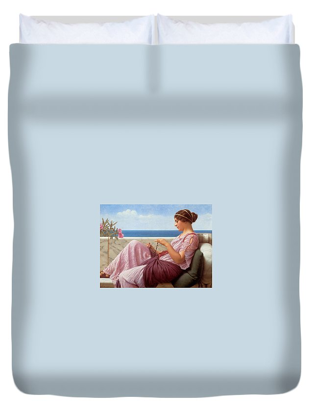 John Williams Godward Duvet Cover featuring the digital art A Souvenir by John Williams Godward
