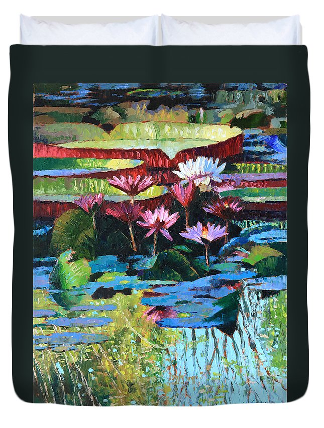 Garden Pond Duvet Cover featuring the painting A Splash of Sunlight by John Lautermilch