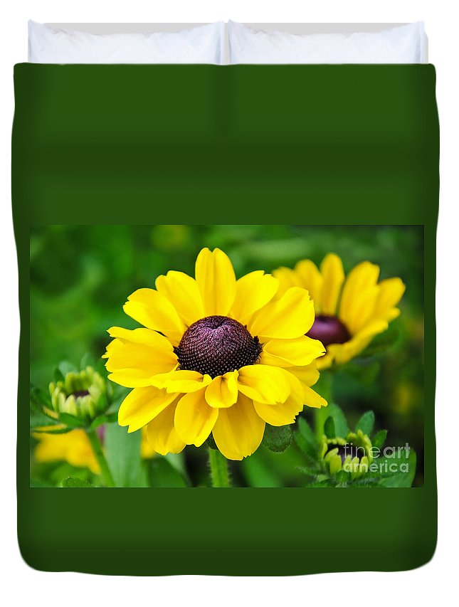 Flowers Duvet Cover featuring the photograph A Splash Of Sunshine by Susie Peek
