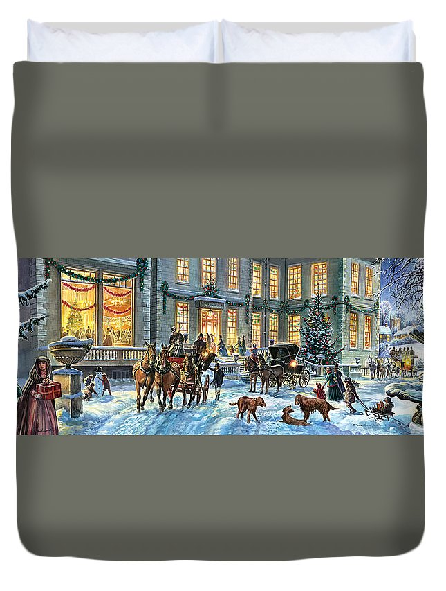 Carriage Duvet Cover featuring the photograph A Stately Christmas by Steve Crisp