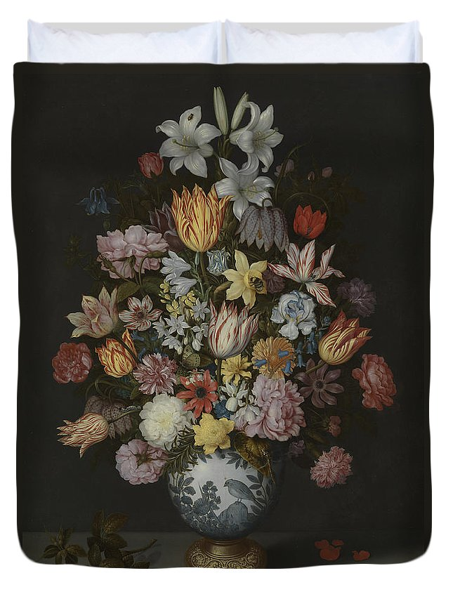 Still Duvet Cover featuring the painting A Still Life Of Flowers In A Wan-li Vase by Ambrosius Bosschaert the Elder