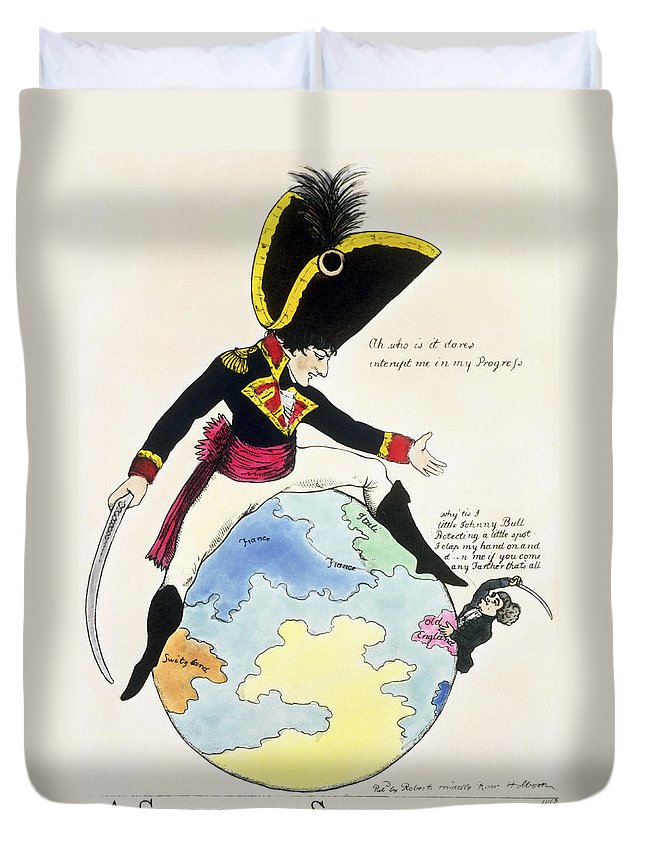 Napoleon Bonaparte Duvet Cover featuring the photograph A Stoppage To A Stride Over The Globe, 1803 Litho by English School