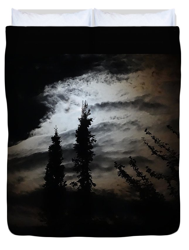 Moon Duvet Cover featuring the photograph A Storm's Comin by Mary Vinagro
