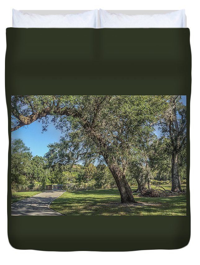 Park Duvet Cover featuring the photograph A Stroll Down The Path by Jane Luxton