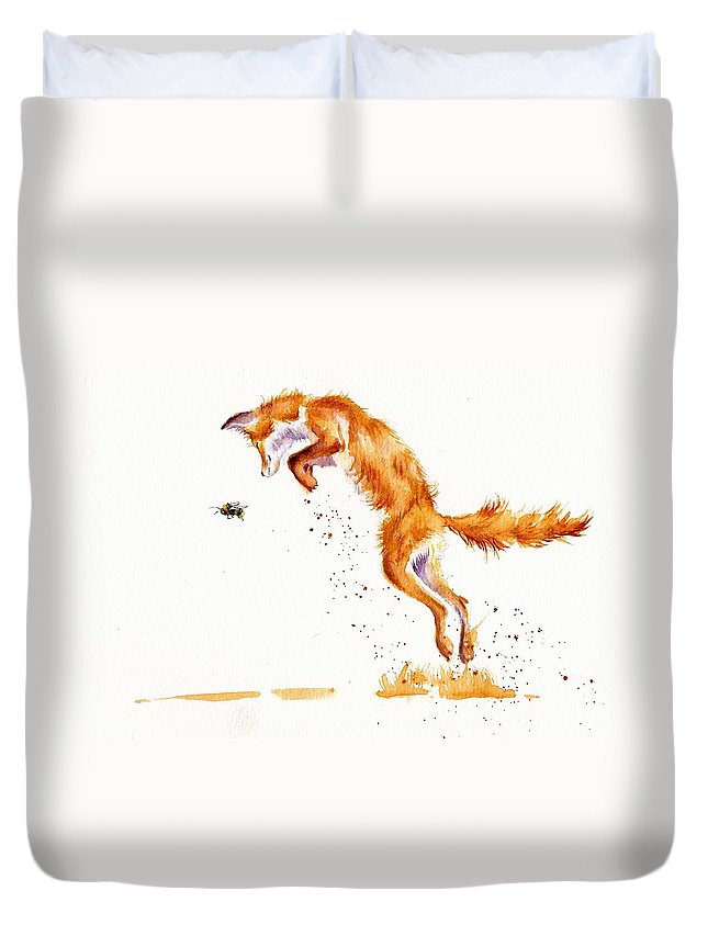 Fox Foxes Vixen Vixens Volpines Animals Rural Countryside Rustic Children\'s Art Bumble Bee Duvet Cover featuring the painting A Summer Jumper by Debra Hall