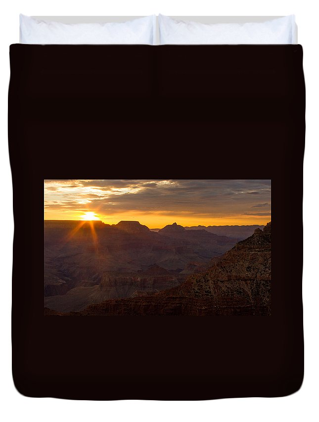 Grand Canyon Duvet Cover featuring the photograph A Sun Like A Star by Kathleen Odenthal