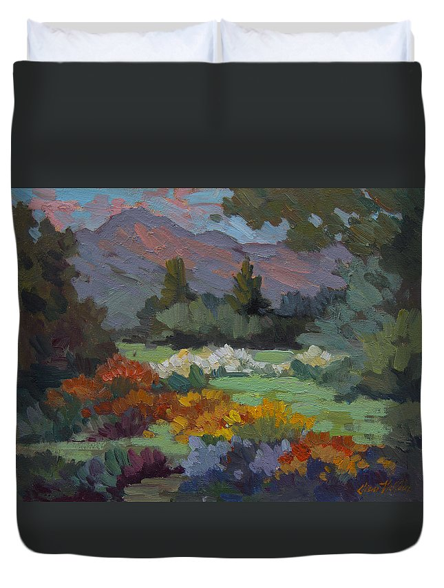 Sunny Duvet Cover featuring the painting A Sunny Afternoon In Santa Barbara by Diane McClary
