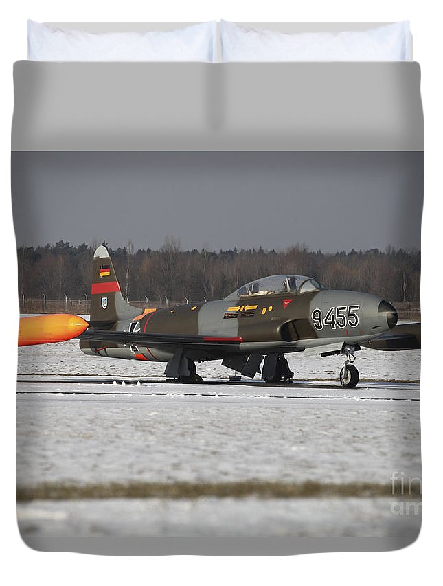 Aircraft Duvet Cover featuring the photograph A T-33 Shooting Star Trainer Jet by Timm Ziegenthaler