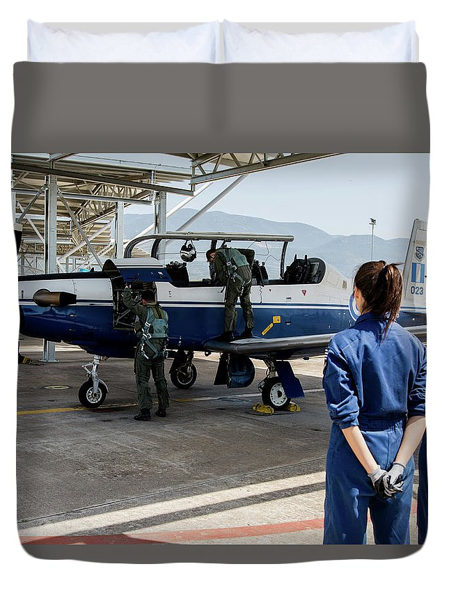 Greece Duvet Cover featuring the photograph A T-6 Texan Trainer Of The Hellenic Air by Timm Ziegenthaler