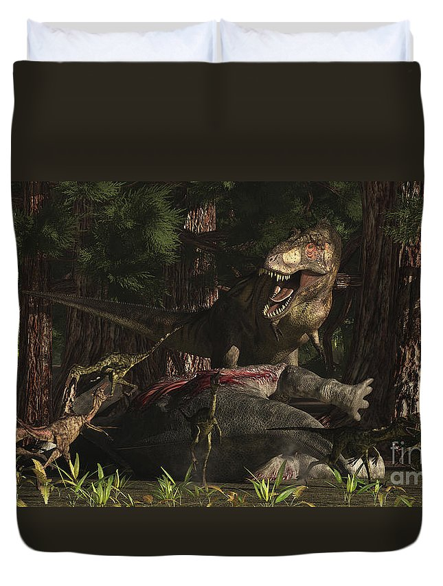 Paleoart Duvet Cover featuring the digital art A T-rex Returns To His Kill And Finds by Arthur Dorety