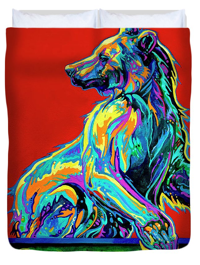Bear Paintings Duvet Cover featuring the painting A Taste Of Honey by Derrick Higgins