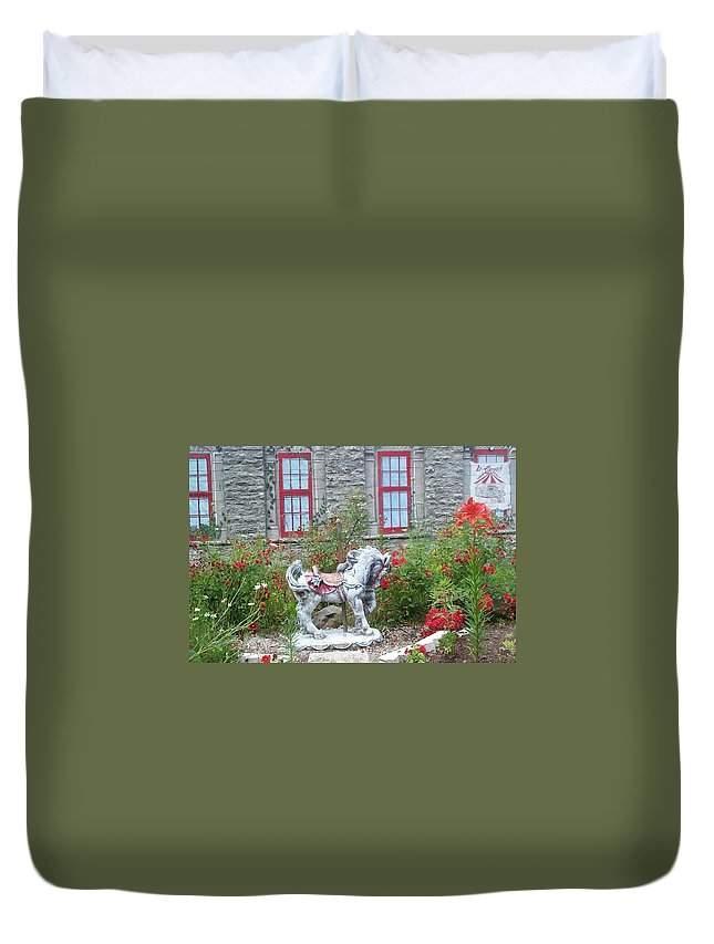 Carousel Pony Duvet Cover featuring the photograph A Treasure In A Garden by Barbara McDevitt