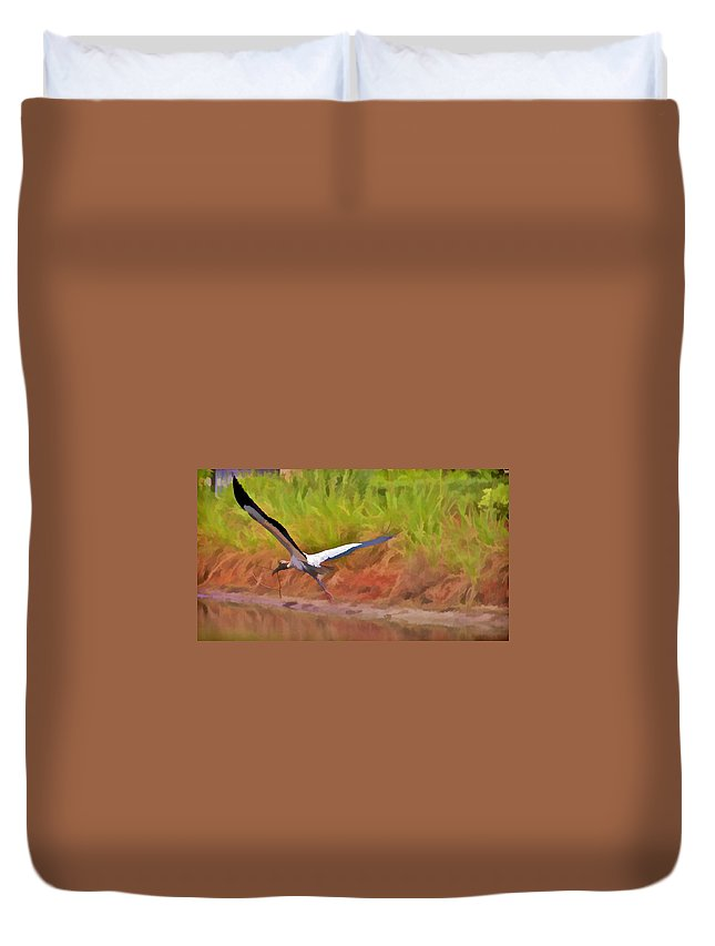 Bird Florida Crane Heron Twig Nest Flying Duvet Cover featuring the photograph A Twig For Her Nest by Alice Gipson