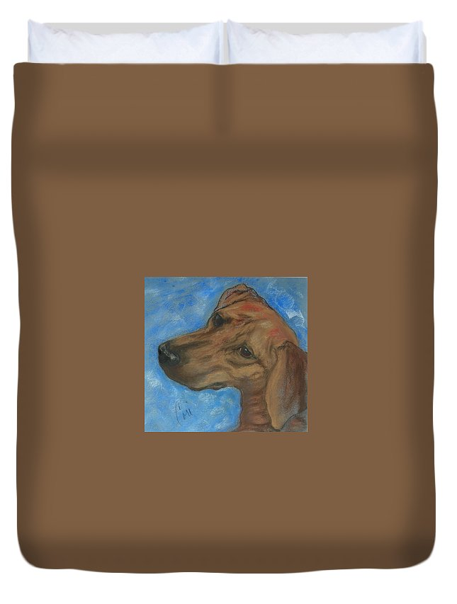 Pastel Duvet Cover featuring the drawing A Twist Of Might by Cori Solomon