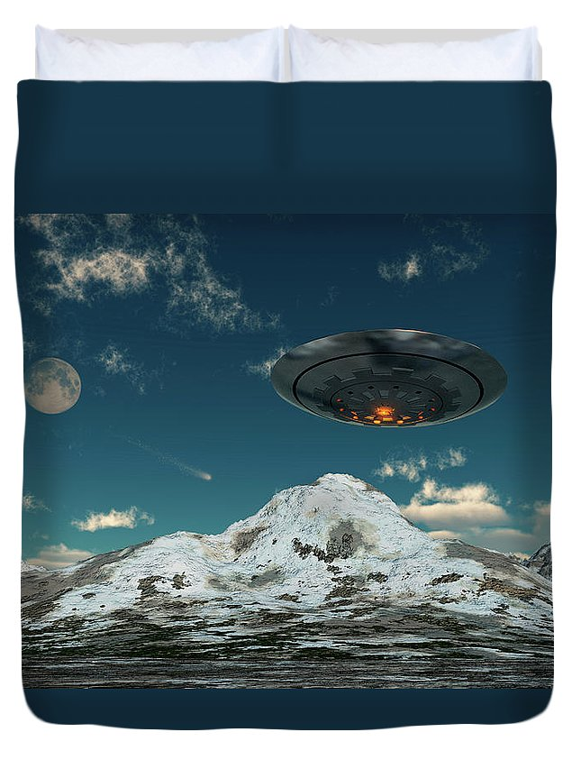 Horizontal Duvet Cover featuring the photograph A Ufo Flying Over A Mountain Range by Mark Stevenson