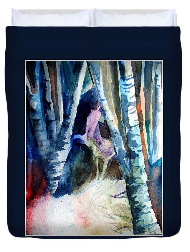 Unicorn Duvet Cover featuring the painting A Unicorn In The Distance by Mindy Newman
