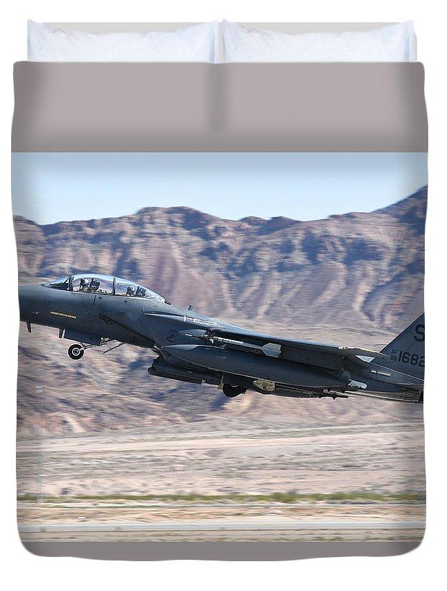 Nellis Air Force Base Duvet Cover featuring the photograph A U.s. Air Force F-15e Strike Eagle by Riccardo Niccoli