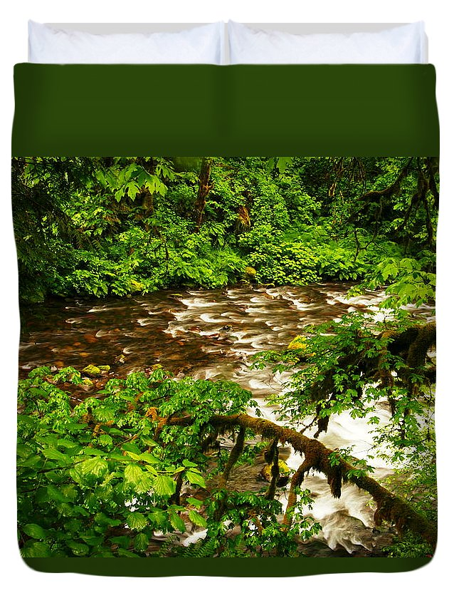 Rivers Duvet Cover featuring the photograph A View Of Eagle Creek by Jeff Swan