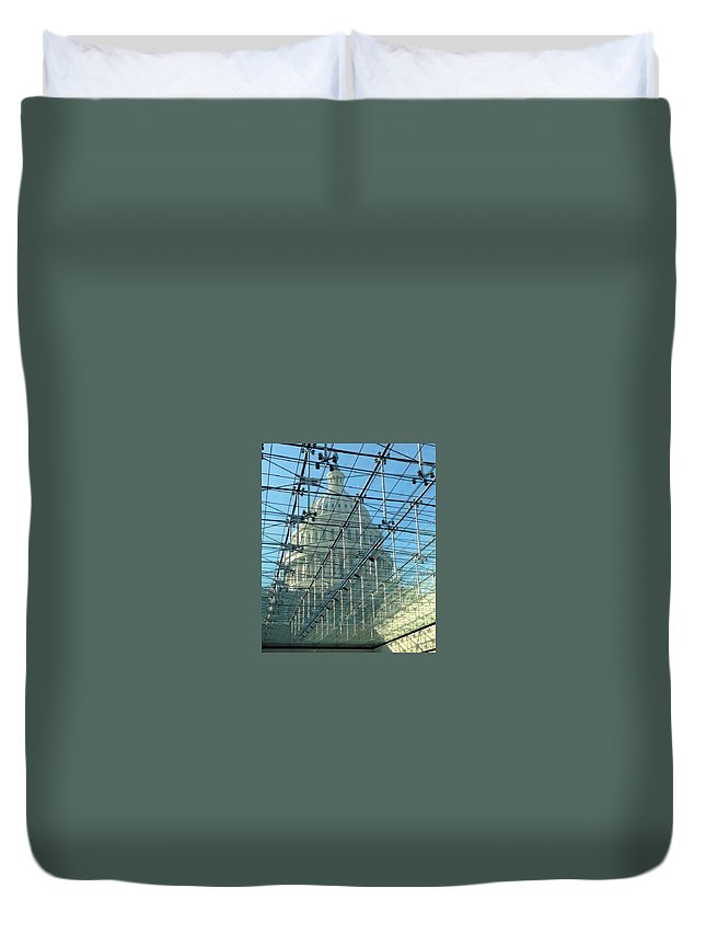 Capitol Duvet Cover featuring the photograph A View Of The Capitol From The Visitor Center by Lois Ivancin Tavaf