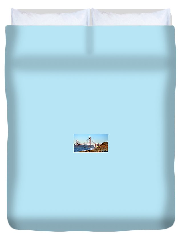 Golden Gate Bridge Duvet Cover featuring the photograph A View Of The Golden Gate Bridge From Baker's Beach by Jim Fitzpatrick