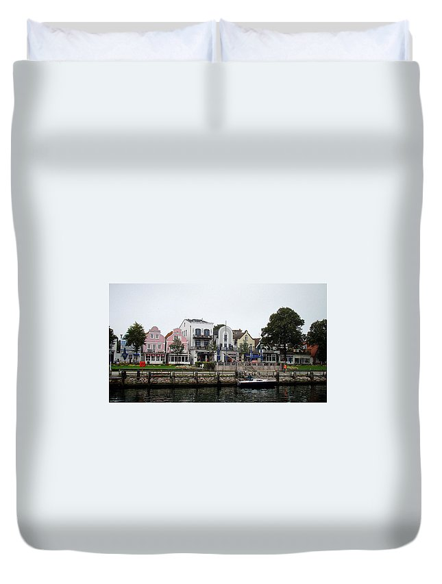 Warnemunde Duvet Cover featuring the photograph A View Of Warnemunde Germany by Richard Rosenshein