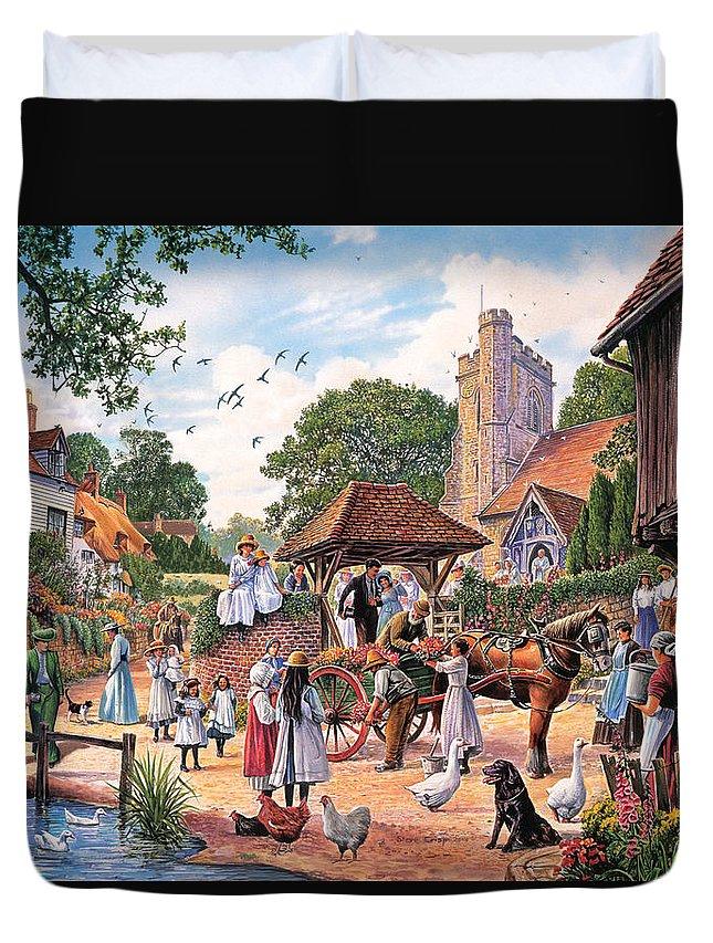 Steve Crisp Duvet Cover featuring the photograph A Village Wedding by Steve Crisp