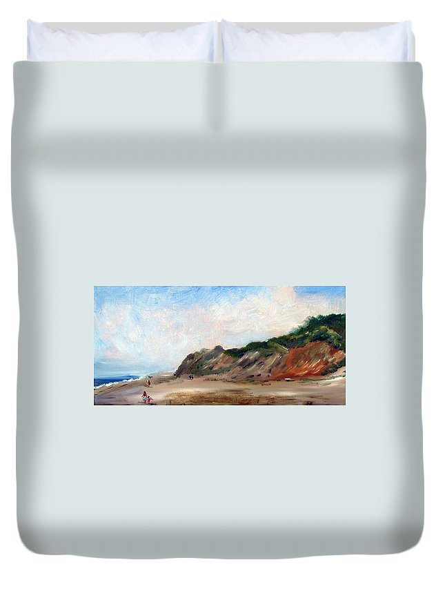 Nature Duvet Cover featuring the painting A Walk Down Cahoon Hollow Beach by Michael Helfen