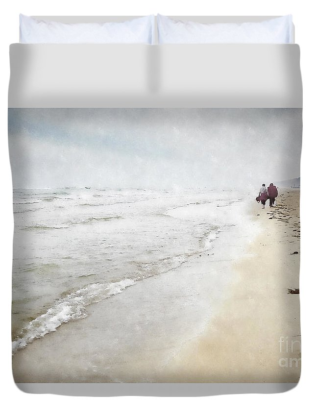Walk Duvet Cover featuring the photograph A Walk On The Beach by Julie Woodhouse