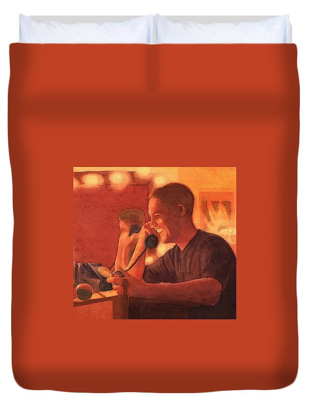 Man Duvet Cover featuring the painting A Warm Smile by Mark Jenkinson