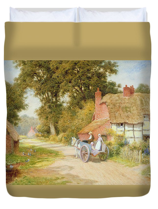 Horse And Cart; Thatched Cottage; Thatch; Half-timbered; Country Lane; Rural; Duck Pond; Ducks; Victorian; Countryside Duvet Cover featuring the painting A Warwickshire Lane by Arthur Claude Strachan