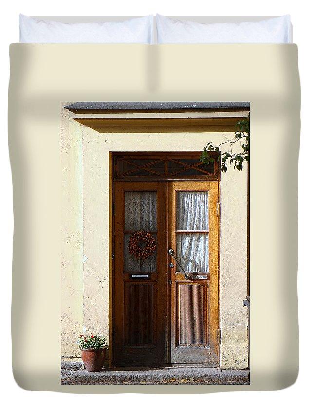 Old Door Duvet Cover featuring the photograph A Welcoming Door by Richard Rosenshein