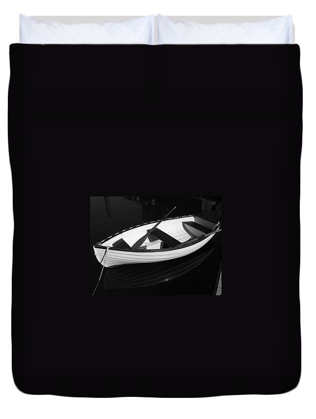 Boats Duvet Cover featuring the photograph A White Rowboat by Xueling Zou
