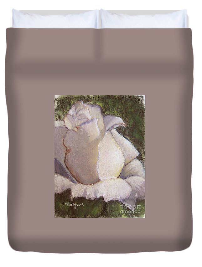 Rose Duvet Cover featuring the pastel A Whiter Shade Of Pale by Laurie Morgan