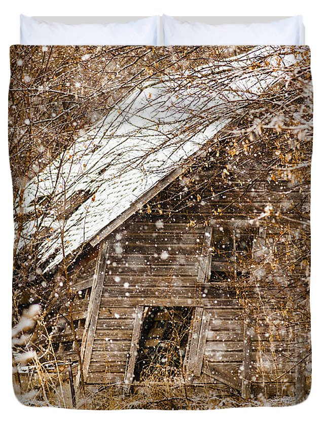 Barns Duvet Cover featuring the photograph A Winter Shed by Edward Peterson