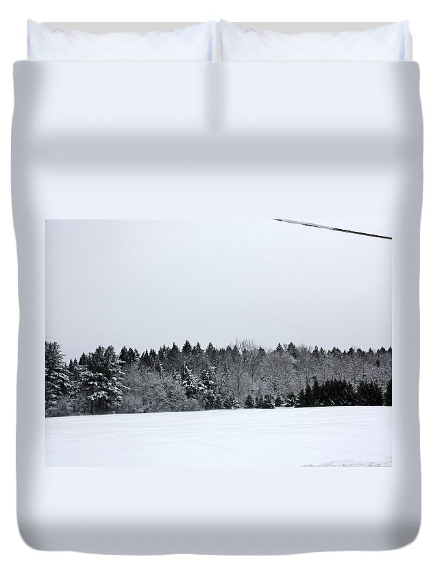 Wintery Scenery Duvet Cover featuring the photograph A Wintery Scene Along Goode Street by James Connor