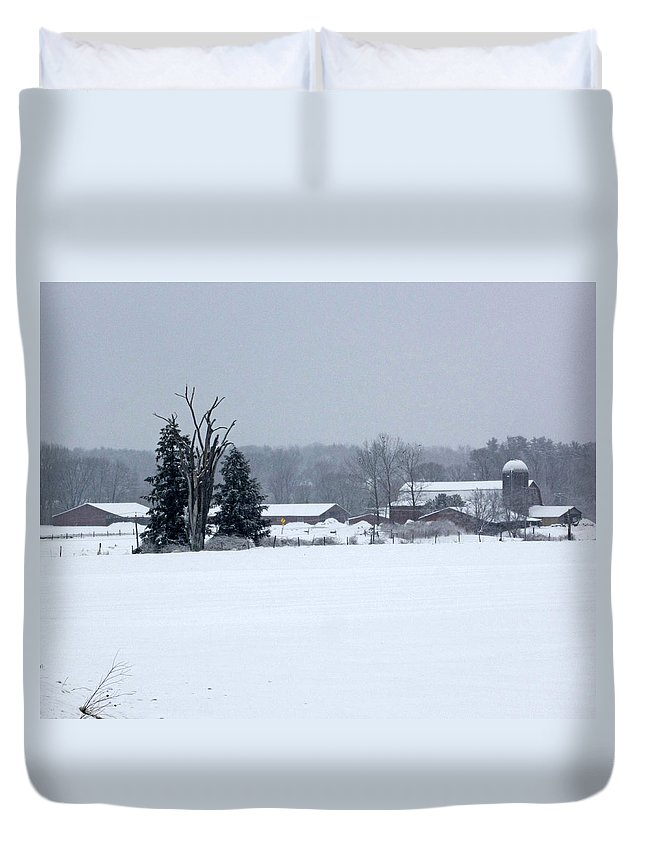 Farm Duvet Cover featuring the photograph A Wintery View Of A Farm Along Van Horst Road by James Connor