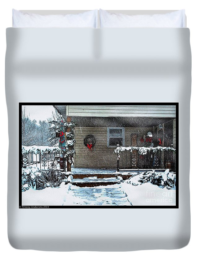 Winter Duvet Cover featuring the photograph A Wisconsin Christmas by Tommy Anderson