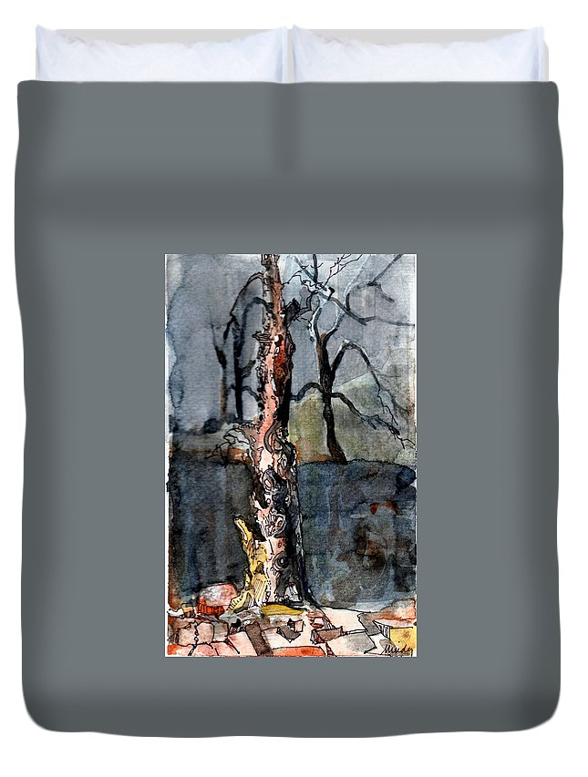 Tree Duvet Cover featuring the painting A Withering Warrior by Mindy Newman
