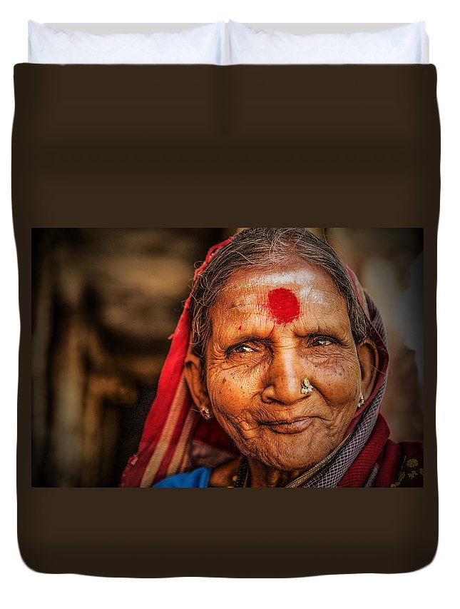 Elderly Duvet Cover featuring the photograph A Woman Of Faith by Valerie Rosen