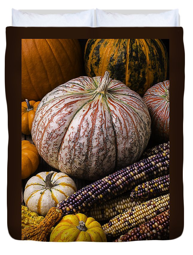 Colorful Duvet Cover featuring the photograph A Wonderful Autumn Harvest by Garry Gay