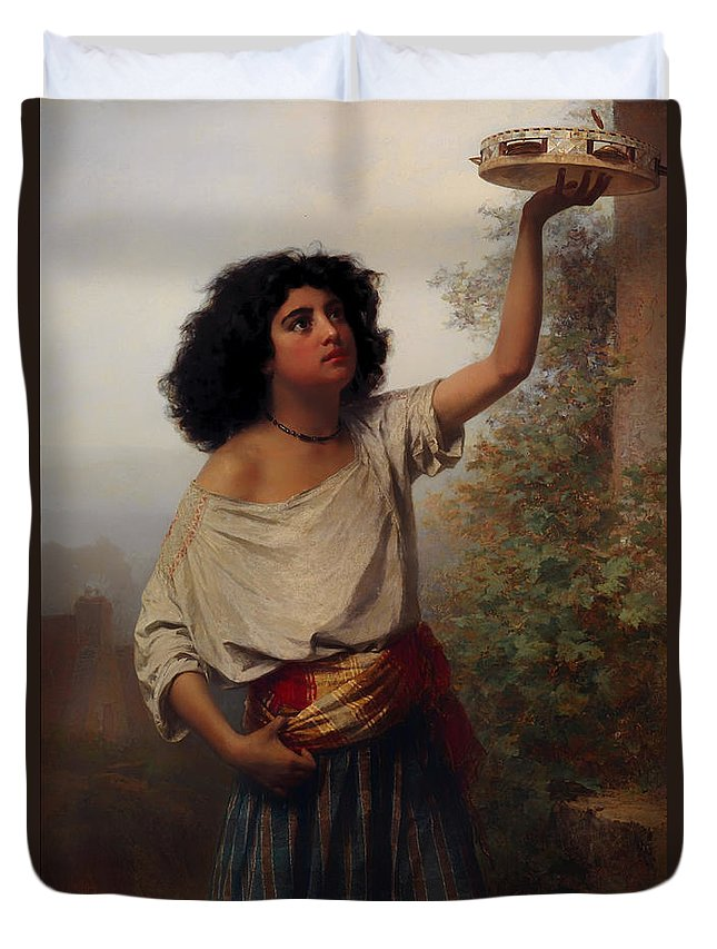 Painting Duvet Cover featuring the painting A Young Gypsy Woman With Tambourine by Mountain Dreams