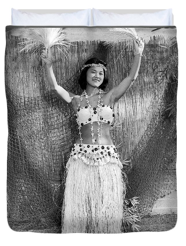 1 Person Duvet Cover featuring the photograph A Young Hawaiian Hula Woman by Underwood Archives
