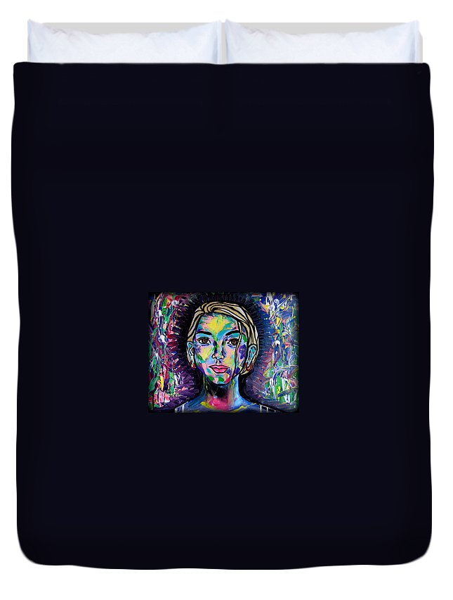 Portrait Duvet Cover featuring the painting Aaliaa by Mataji Villareal - Sharma
