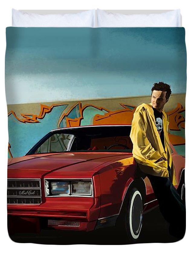 Aaron Paul Duvet Cover featuring the digital art Aaron Paul as Jesse Pinkman @ TV serie Breaking Bad by Gabriel T Toro