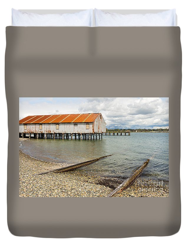 Cannery Duvet Cover featuring the photograph Abandoned Cannery by Brigitte Mueller