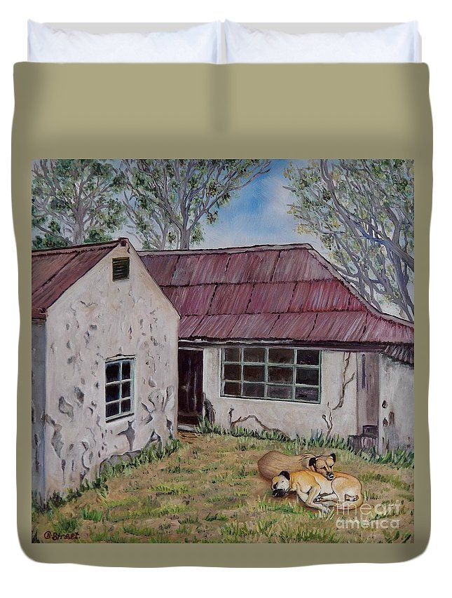 Architecture Duvet Cover featuring the painting Abandoned. by Caroline Street